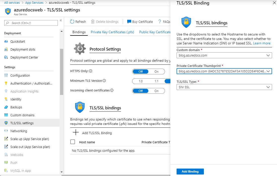 Azure Certificate Bindings