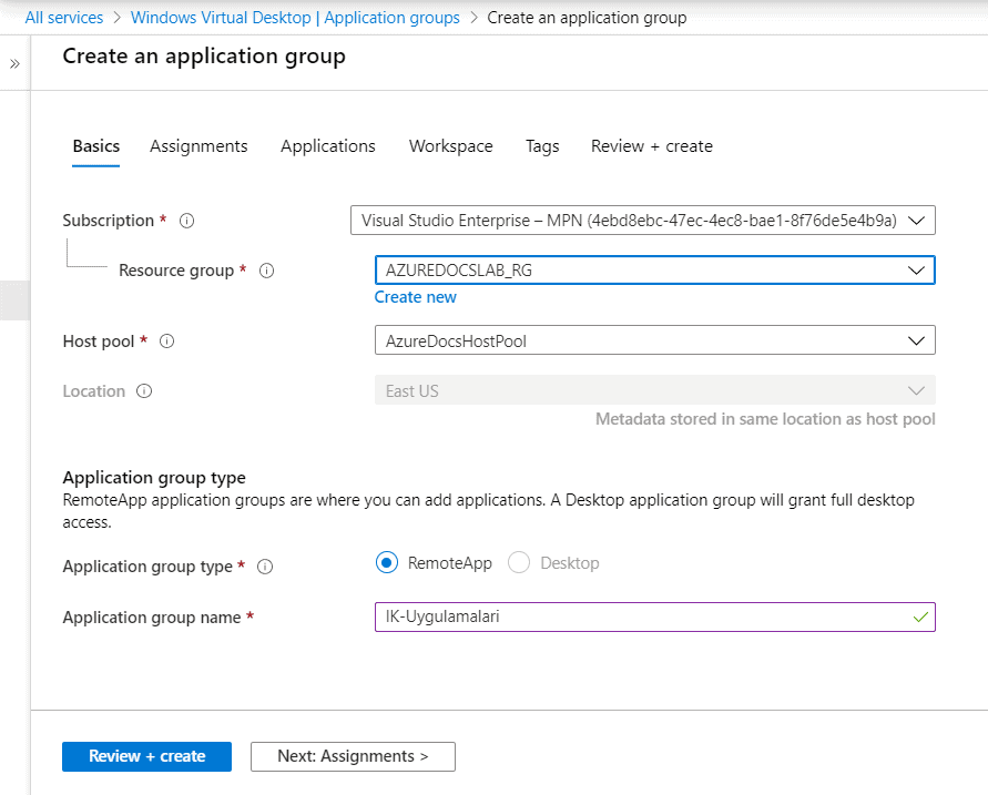 Azure WVD Application Groups