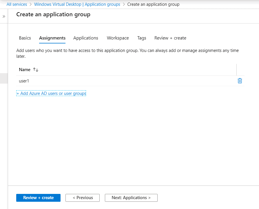 Azure WVD Application Groups Assingment